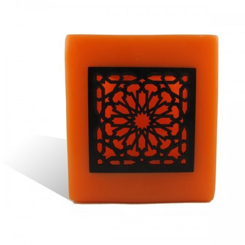 Photophore cube orange motif carré mouchaibieh