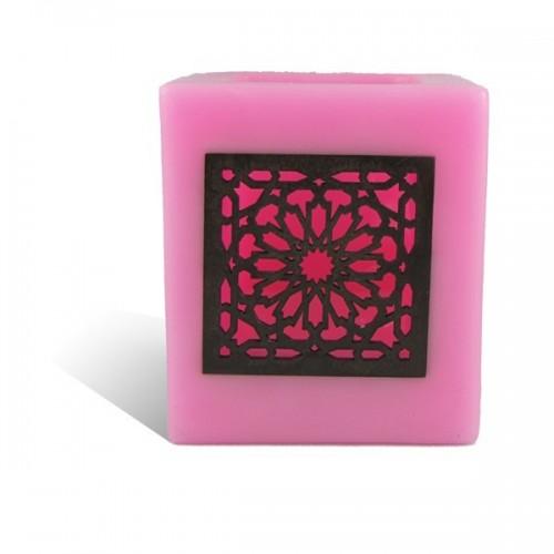 Photophore cube rose motif carré mouchaibieh