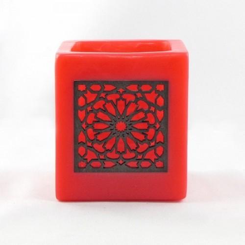 Photophore cube rouge motif carré mouchaibieh