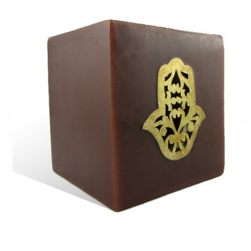 Photophore cube chocolat main fatima en dorée