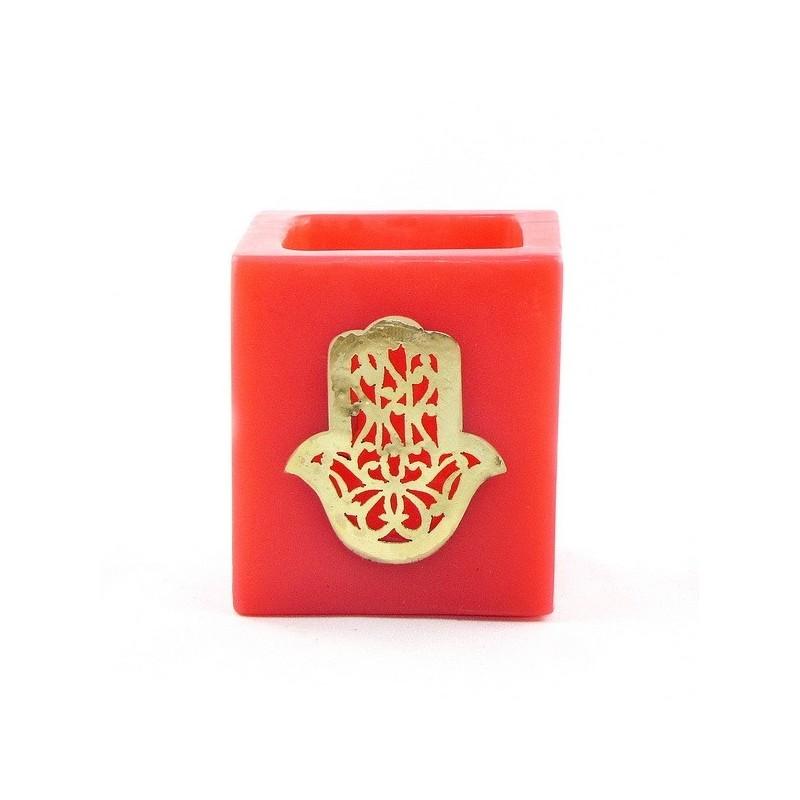 Photophore cube rouge main fatima en dorée