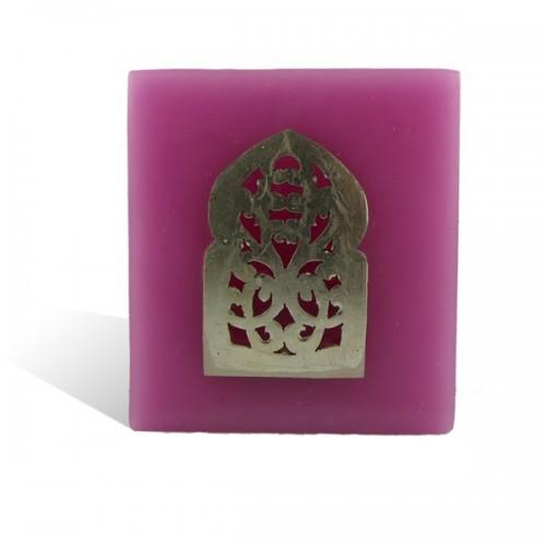 Photophore rose cube motif porte arcade métal