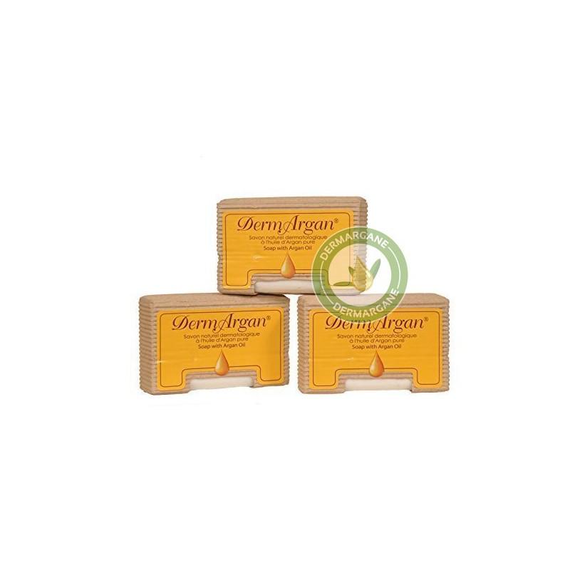 Lot de 3 Savons Naturels Dermatologiques Hydratants et Régénérants pour les peaux sèches à lHuile dArgan Pure