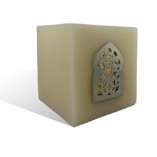 Photophore saumon cube motif porte arcade métal