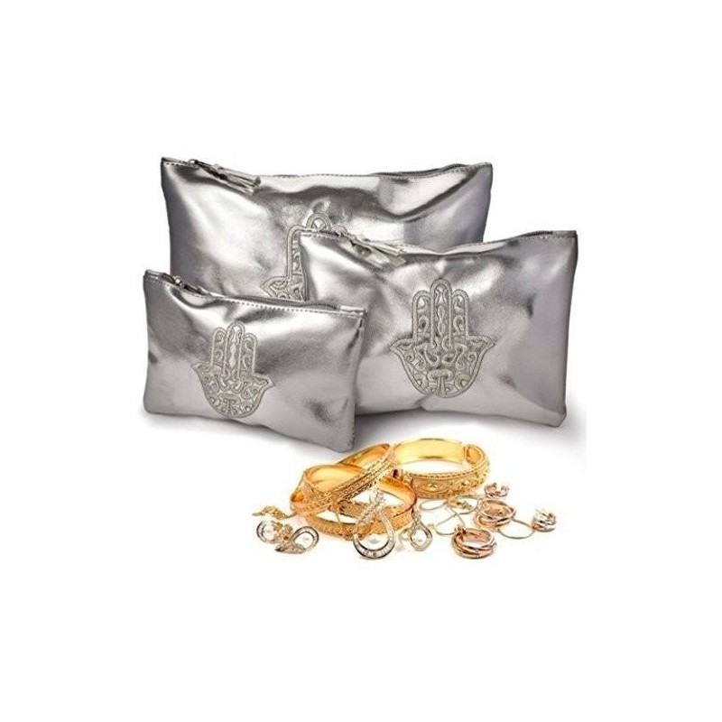 Lot de 3 Pochettes Make Up Orientales en Simili Cuir argent