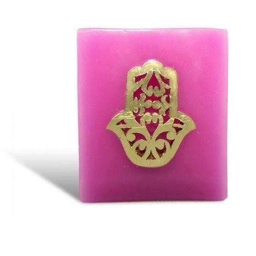 Photophore cube rose main fatima en dorée