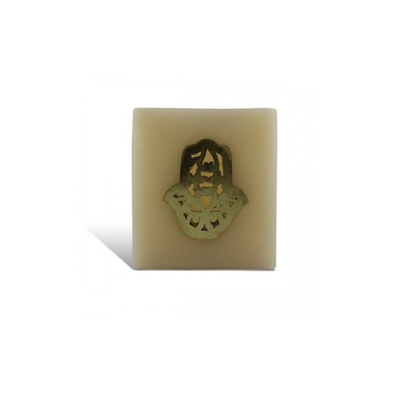Photophore cube saumon main fatima en dorée